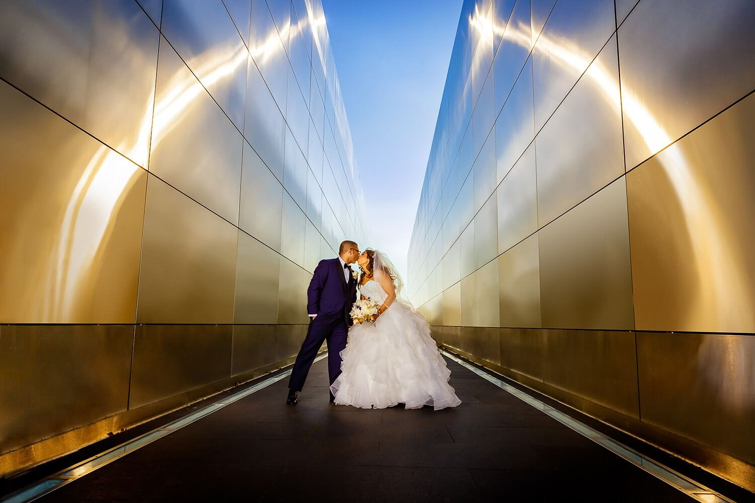 bride and groom at The Memorial at Liberty state park wedding photo New Jersey Wedding Photographer