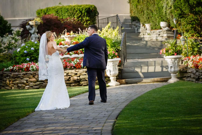 Candid of Bride and groom walking away having fun New Jersey Wedding Photography