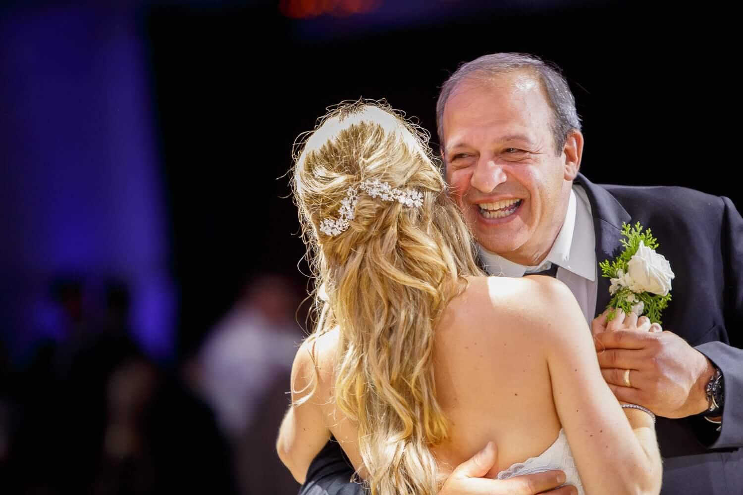 Father daughter dance in the ballroom of the westmount Courtry Club New Jersey Wedding Photographer