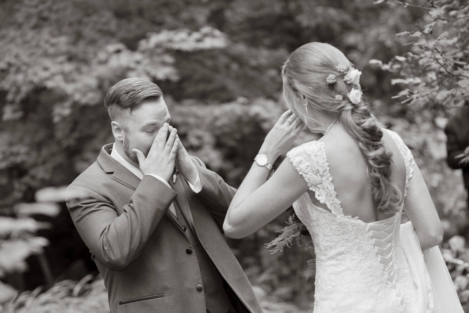 Bride and Grooms first look at the Frelinghuysen Arboretum New Jersey Wedding Photographer