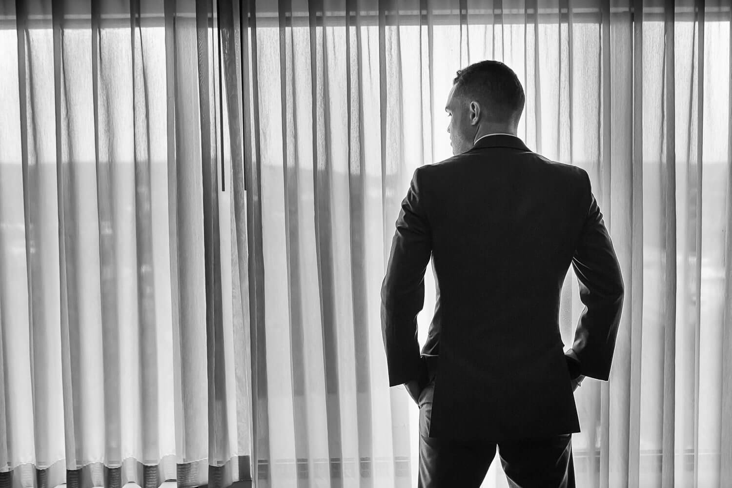Silhouette of groom during his prep New Jersey Wedding Photography