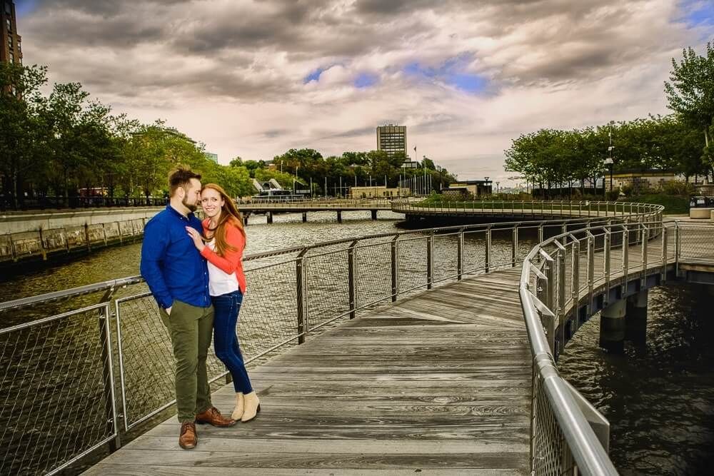 New Jersey engagement photo of a couple on Pier c in Hoboken NJ