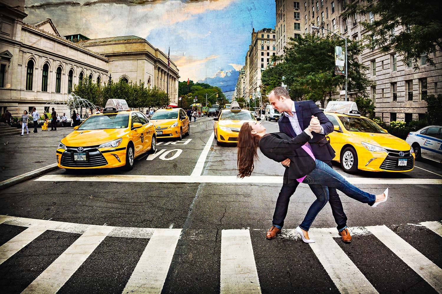New Jersey engagement photo of a couple dipping in the middle of 5th ave NYC