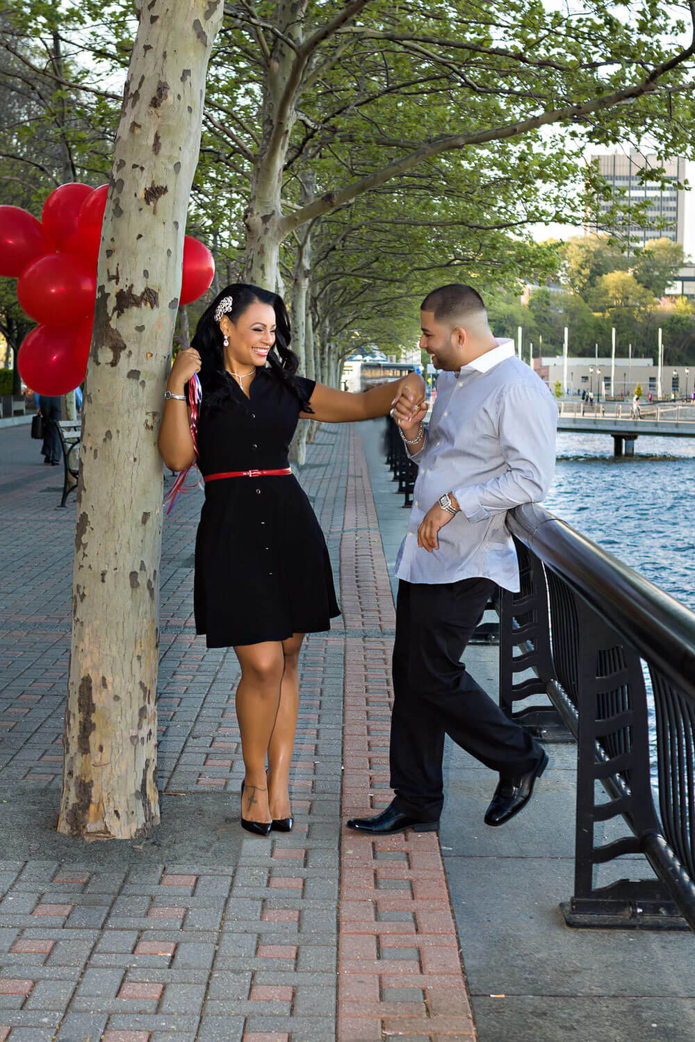 New Jersey engagement photo of a couple on the hoboken waterfront