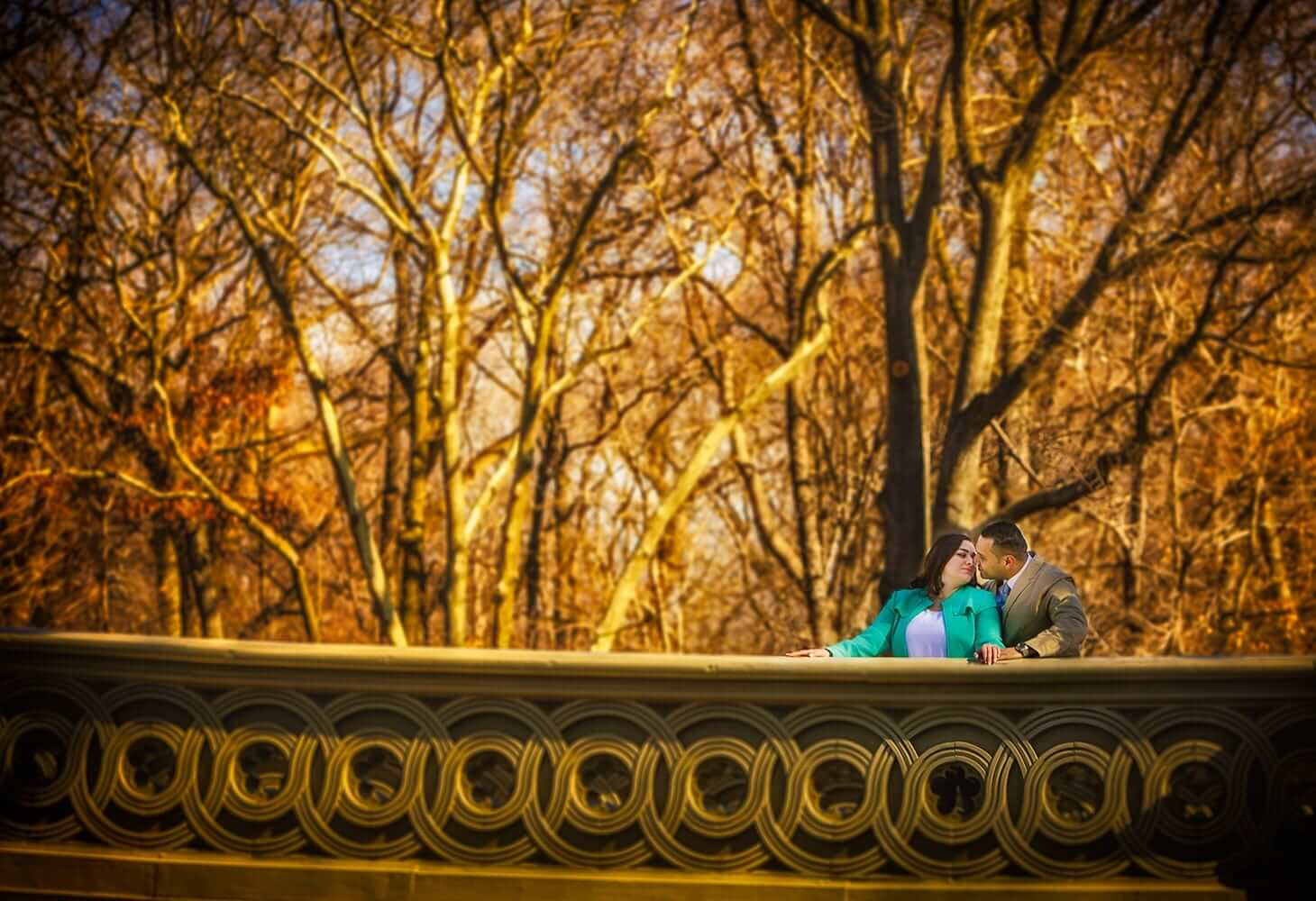 New Jersey engagement photo of a couple on bow bridge in central Park nyc