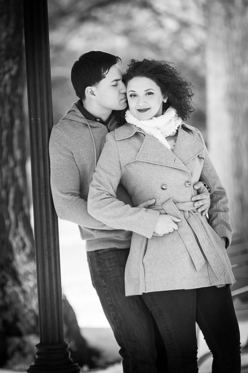New Jersey engagement photo of a couple in a winter engagement session