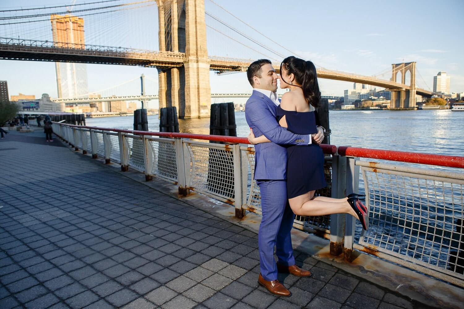 New Jersey engagement photo of a couple by the Brooklyn Bridge