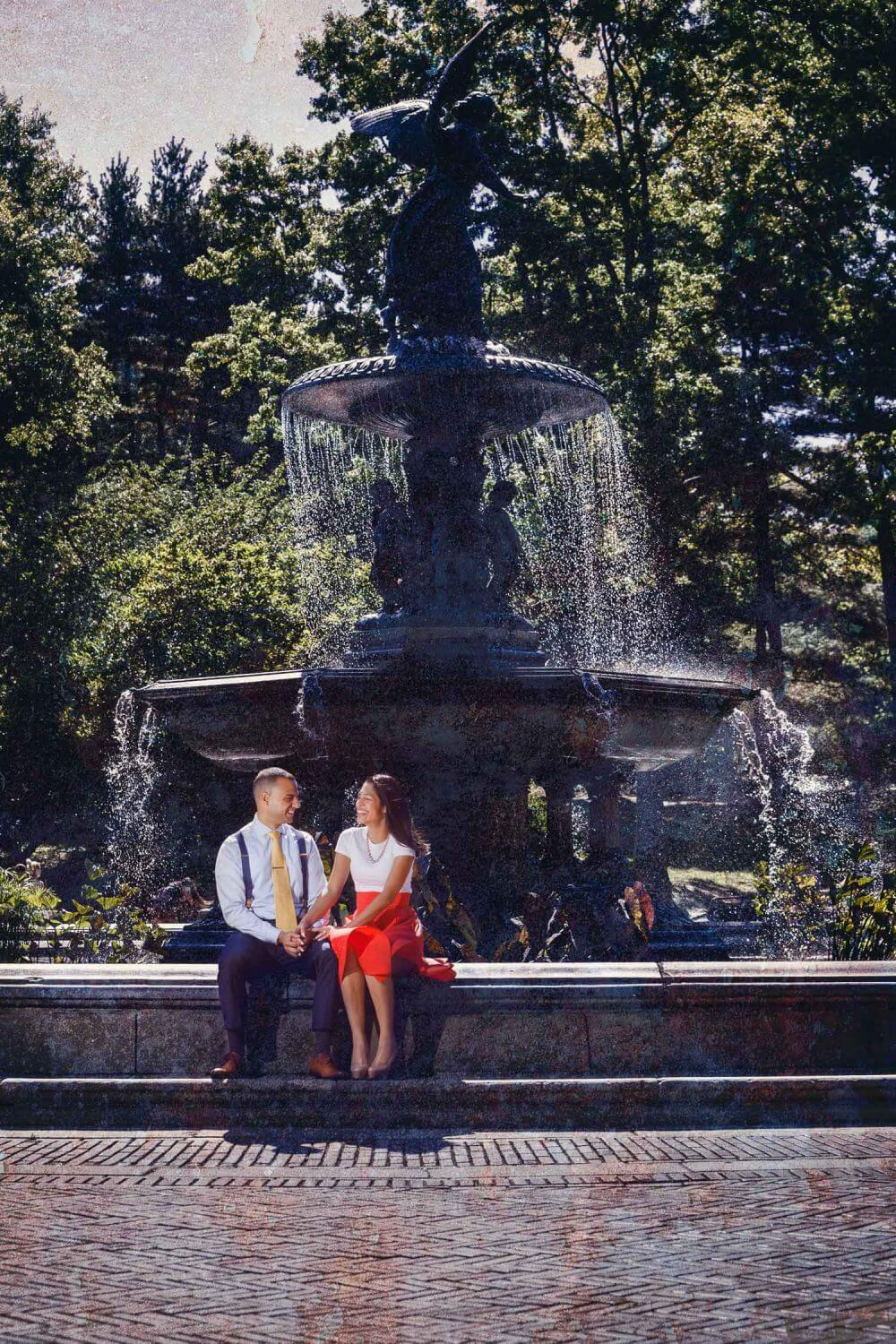 Engagement Session at the Bethesda fountain in central park NYC New Jersey engagement Photography